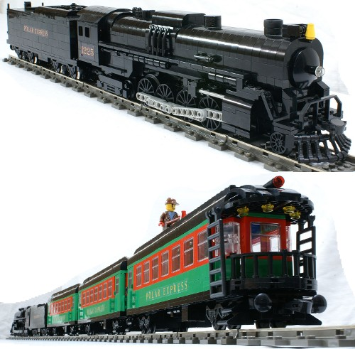 ... magnificent Polar Express train, meticulously constructed from Lego
