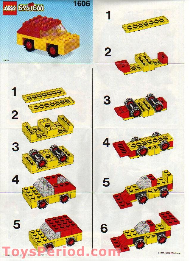lego 1606 car set parts inventory and instructions lego reference guide. Black Bedroom Furniture Sets. Home Design Ideas