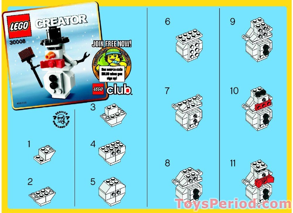 Lego 30008 Snowman Polybag Set Parts Inventory And Instructions