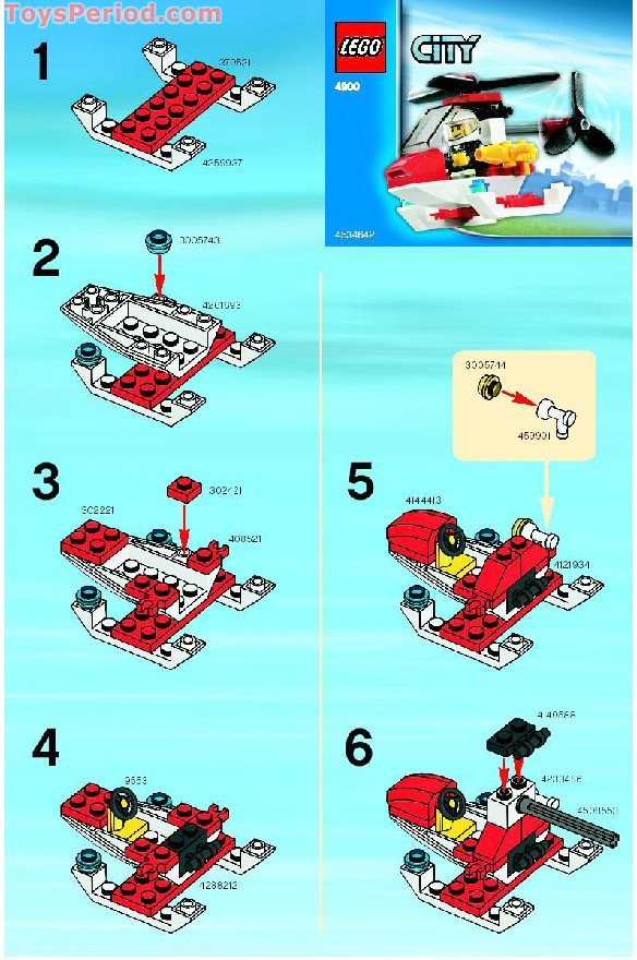 Lego 4900 Fire Helicopter Set Parts Inventory And Instructions