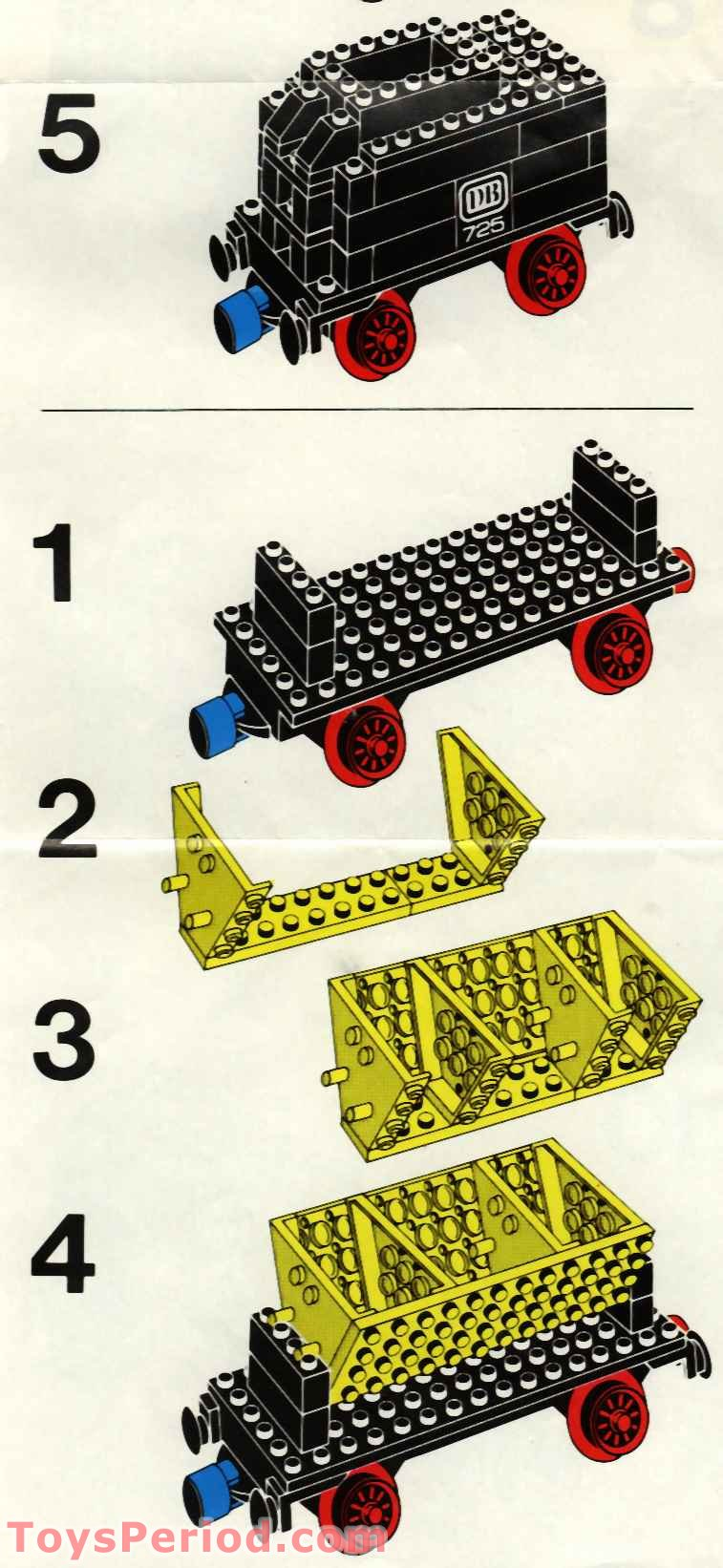 Red G Wagon >> LEGO 725-2 12v Freight Train and Track Set Parts Inventory