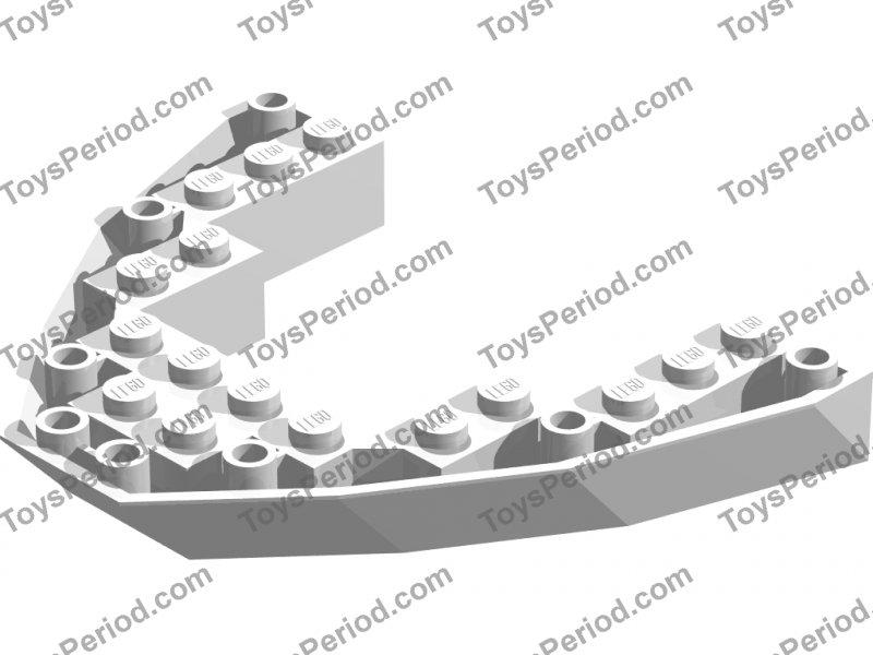 1 x Lego System Boat Hull Bug Railing Plate White 8x10x1 Pirates Ship 2622