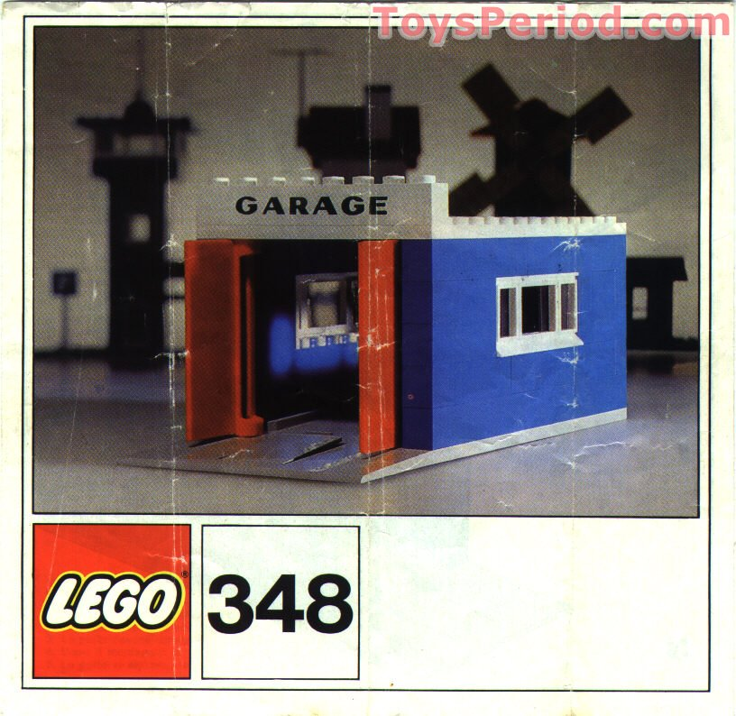 Lego 348 1 garage with automatic doors set parts inventory for Garage framing instructions