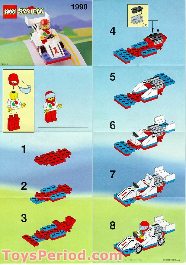Lego 1990 F1 Race Car Set Parts Inventory And Instructions Lego