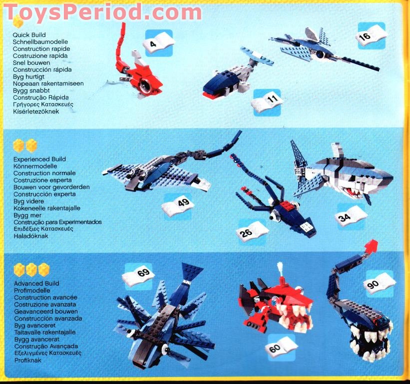 Building Toys From The 90s : Lego deep sea predators set parts inventory and