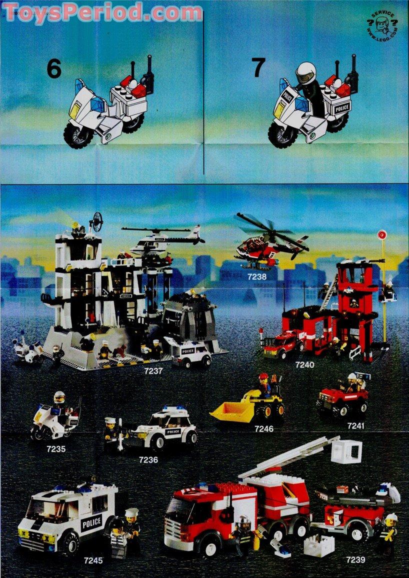 Lego 7235 2 Police Motorcycle Blue Sticker Version Set Parts