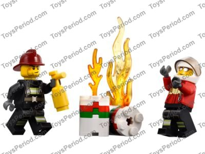 LEGO x 10 Red Torso Fire Suit with Stripe and Harness Carabiner firefighter