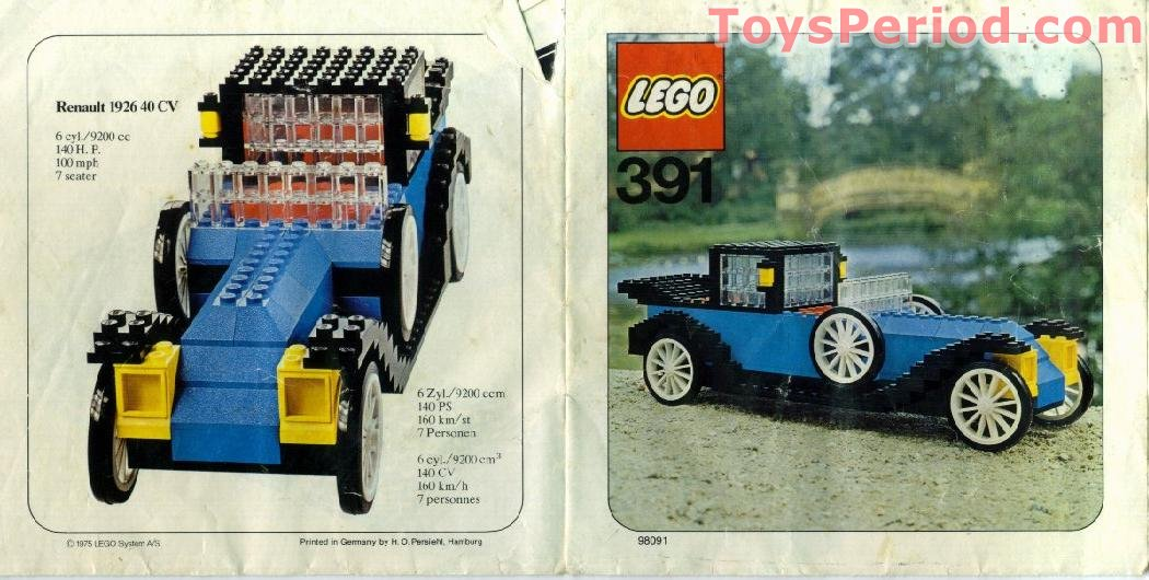 LEGO 391-1 1926 Renault Set Parts Inventory and Instructions