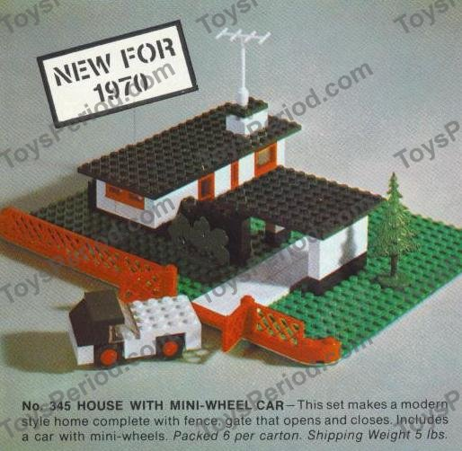 Lego 345 1 House With Mini Wheel Car Set Parts Inventory