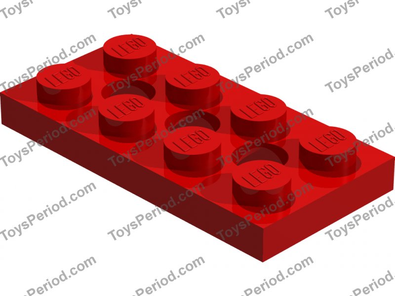 4x Technic Lego part no 3709b Plate 2 x 4 with Holes in White