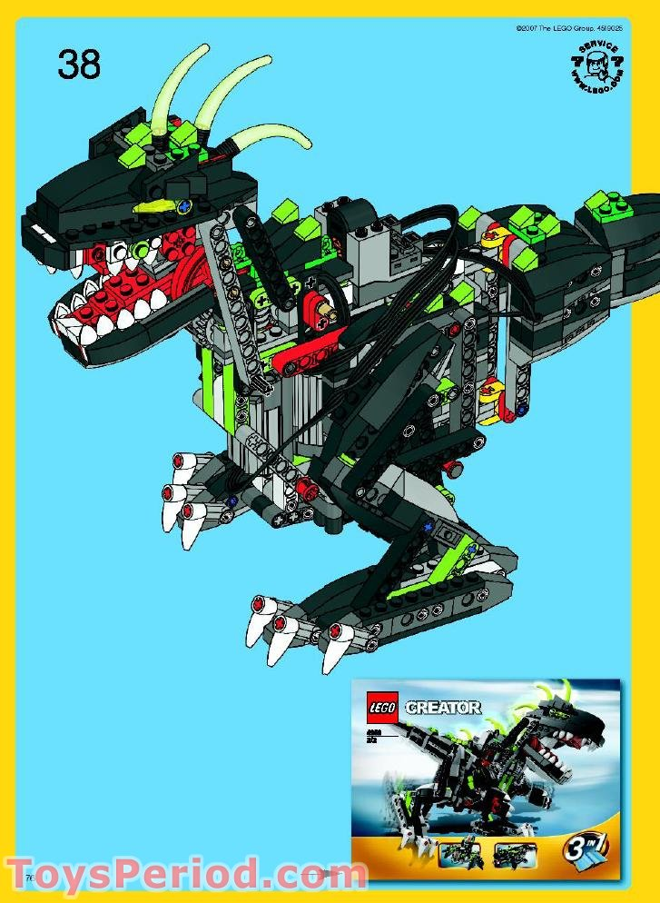 Lego 4958 monster dino set parts inventory and instructions lego reference guide - Dinosaure lego ...