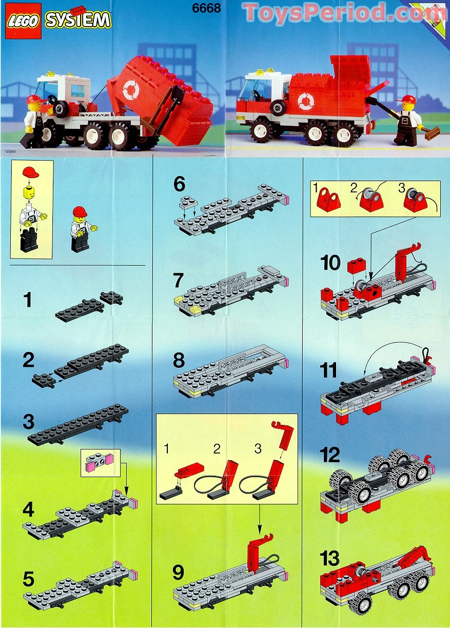 lego 6668 recycle truck set parts inventory and instructions lego reference guide. Black Bedroom Furniture Sets. Home Design Ideas