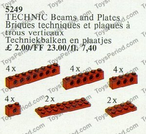 Red 4 X Lego Technic 3894  Brick 1 x 6  with Holes
