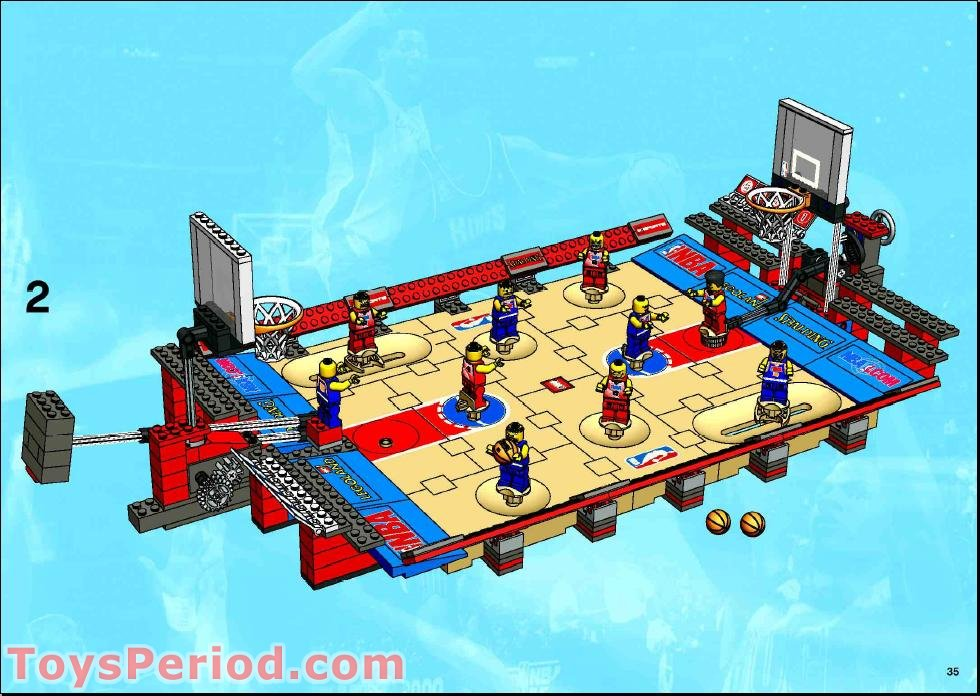 Lego part of ground basketball//1 tan sport field section 3432 3433 w//red line