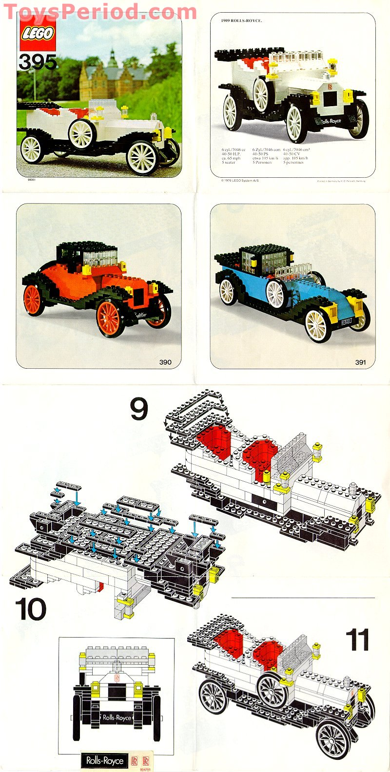 LEGO 395-1 1909 Rolls-Royce Set Parts Inventory and Instructions