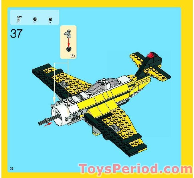 LEGO City Creator Lot of 2 Yellow 8x3 Wedge Wing Airplane Plates