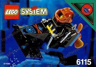LEGOS Black Cockpit Space Nose w// Aquazone Aquashark Blue Shark w// Red X Pattern