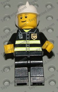 LEGO City Town Fireman Minifigure with Silver Helmet and Eyebrows Pattern