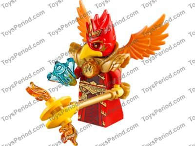 Gold Flame over Crescent Pattern LEGO Chima Trans-Orange Round 1 x 1 Tile