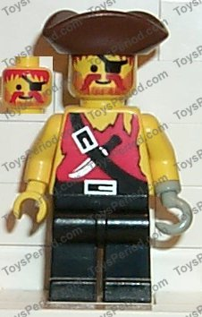 9ce31c13dd4 LEGO Pirate Shirt with Knife, Black Legs, Brown Pirate Triangle Hat Minifig