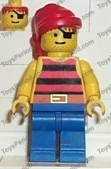 2x Vintage LEGO Pirate Minifigure Red Black Stripes Shirt w//Blue Legs 6286 1788