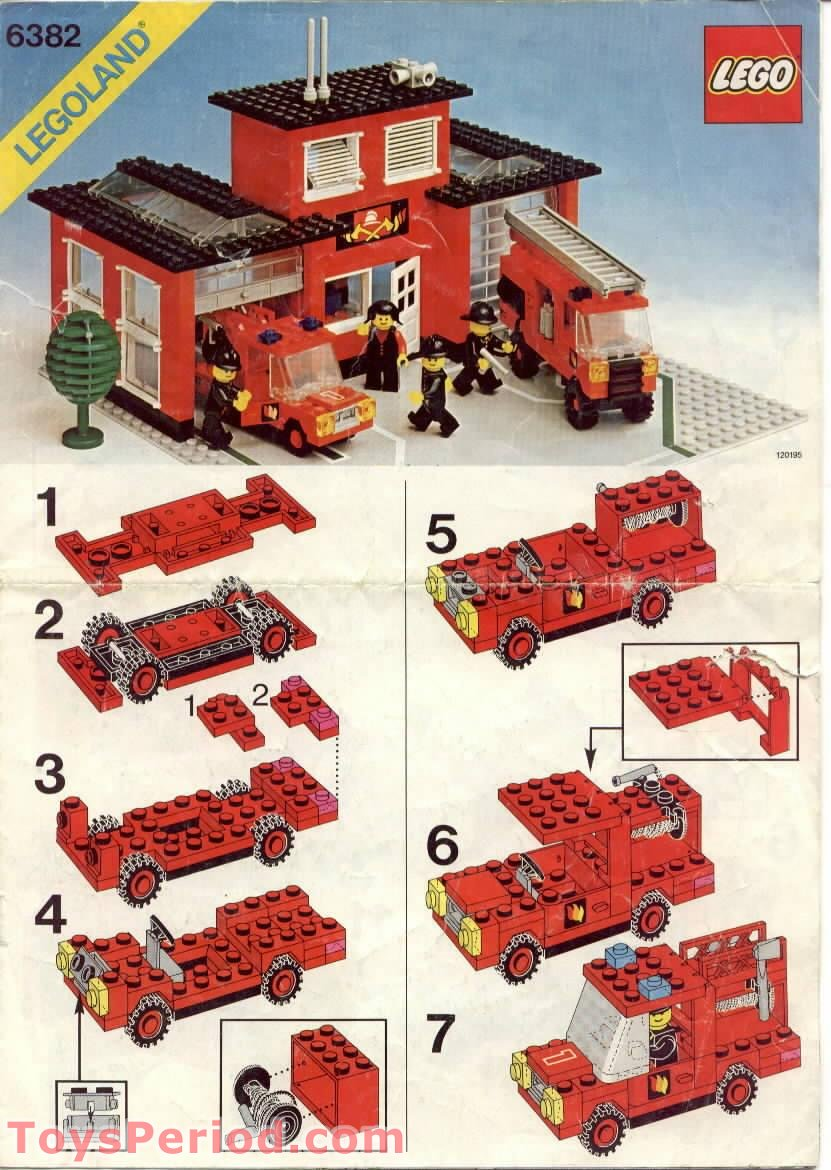 Lego 6382 fire station set parts inventory and for Lego classic house instructions