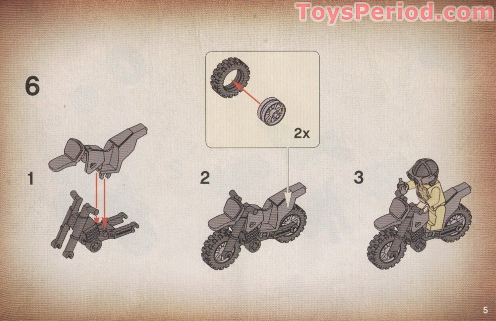 Lego 7620 Indiana Jones Motorcycle Chase Set Parts Inventory And