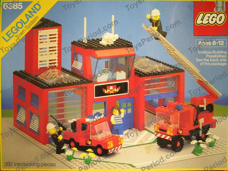 Lego 6385 Fire House One Town Ladder Truck Station 1985
