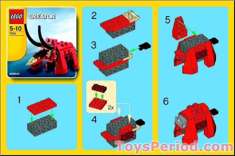 Lego 7604 Dinosaur Set Parts Inventory And Instructions Lego