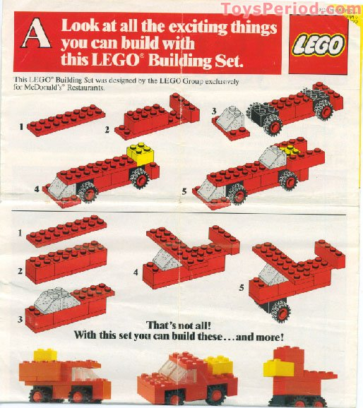 Lego 1912 Mcdonald S Promotional Set A Car Set Parts Inventory And Instructions Lego Reference Guide