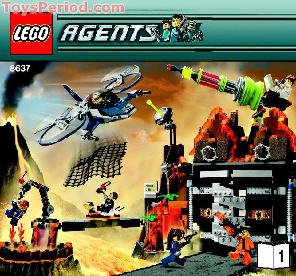 Lego 8637 Mission 8 Volcano Base Set Parts Inventory And