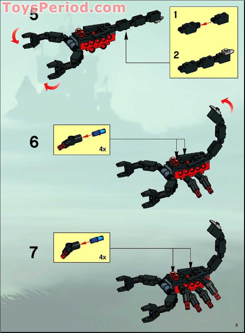 lego 8876 scorpion prison cave set parts inventory and