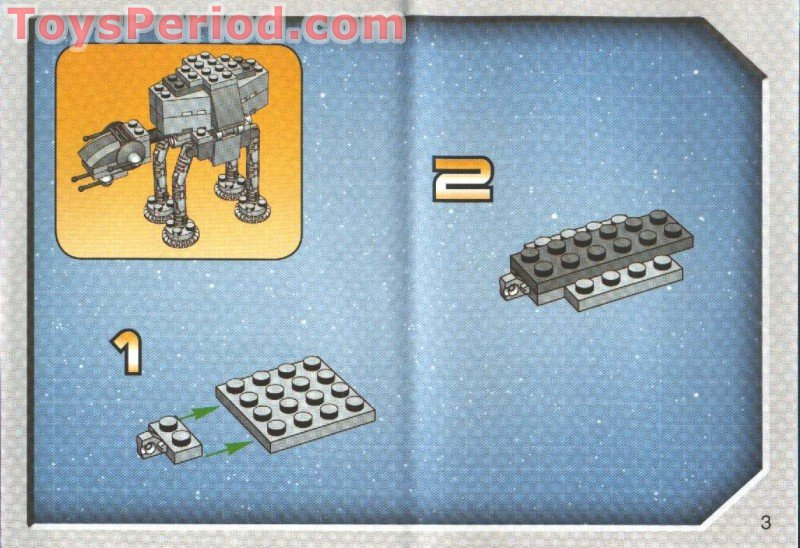 Lego 4489 Mini At At Set Parts Inventory And Instructions Lego