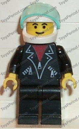 Lego Figure Train man Black Leather Jacket Black Hair trn090 1775