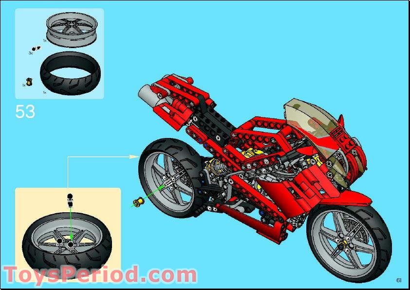Lego 8420 Street Bike Set Parts Inventory And Instructions