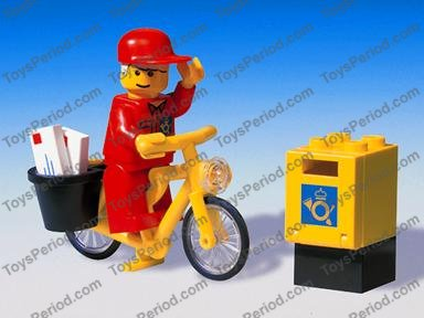 Lego Mail Carrier Minifigure with Envelope /& Mail Box NEW