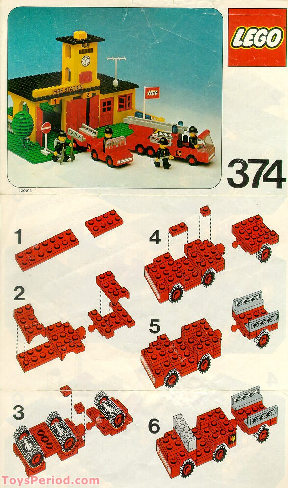 lego 374 1 fire station set parts inventory and instructions lego