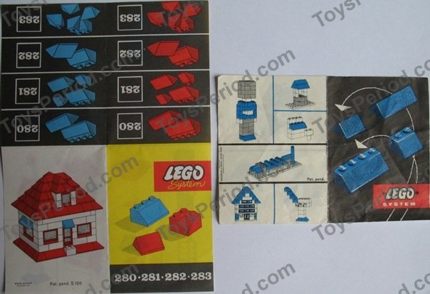 Lego 280 2 Sloping Roof Bricks Blue Set Parts Inventory