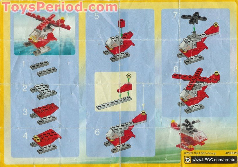 Lego 7222 Small Red Helicopter Polybag Set Parts Inventory And