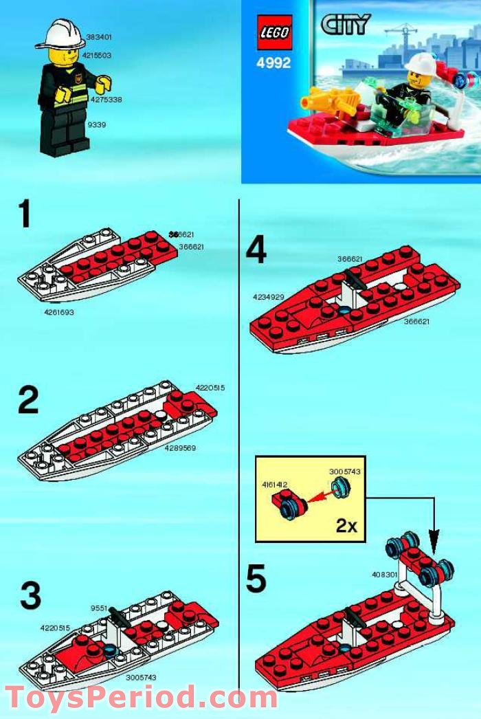 Lego 4992 Fire Boat Set Parts Inventory And Instructions Lego
