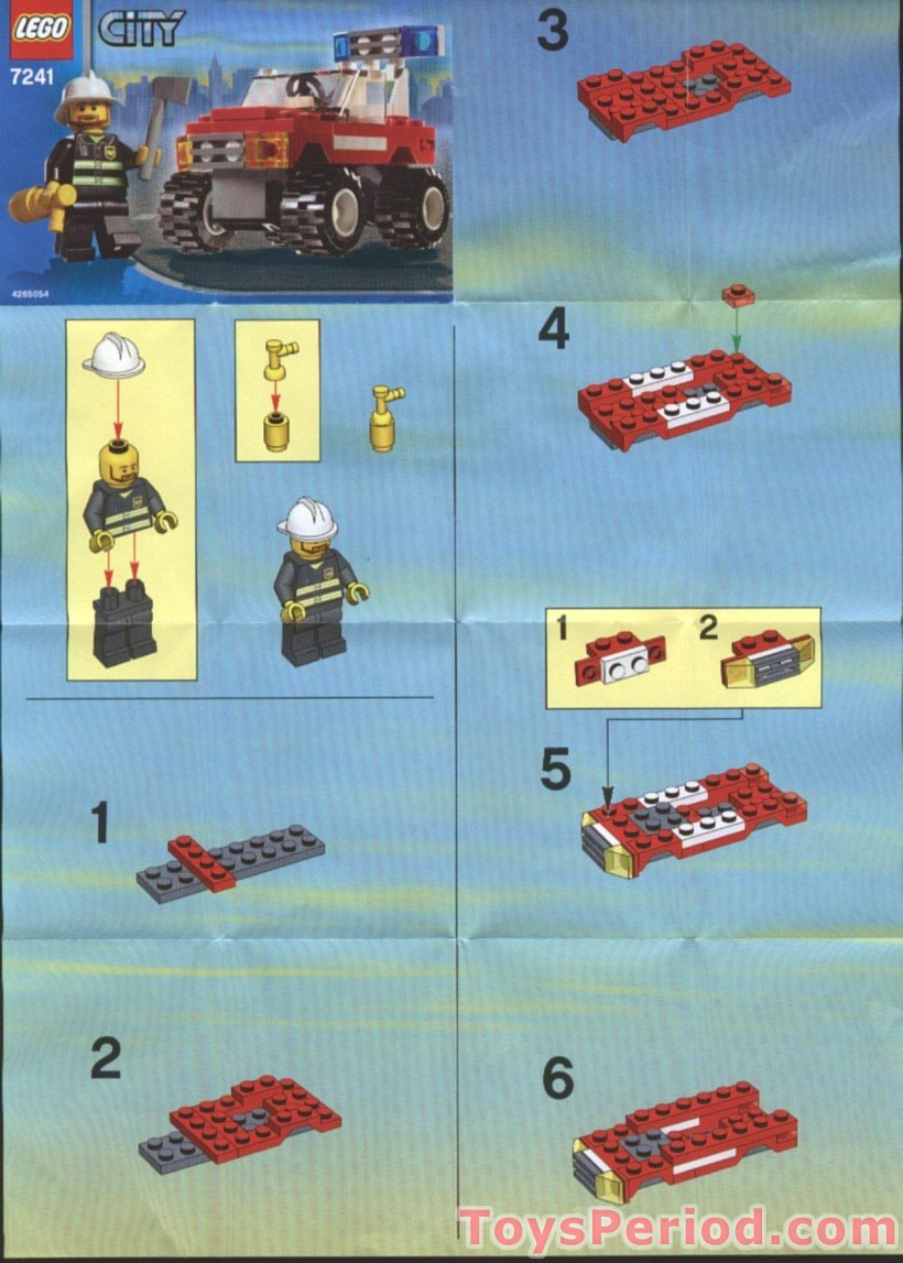Lego 7241 Fire Car Set Parts Inventory And Instructions