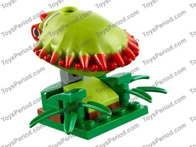 Lego Lime Venus Flytrap Shell with Red Spikes Parts Pieces Lot of 2