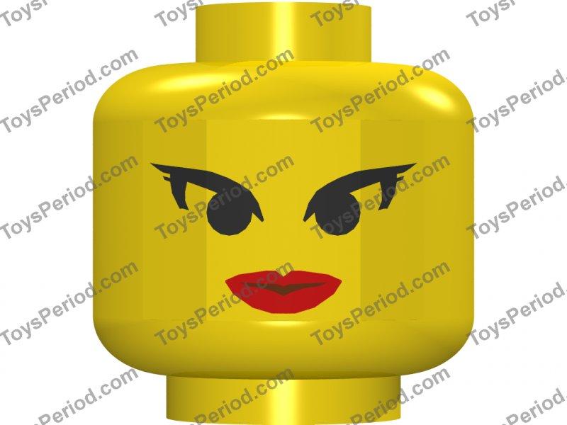 LEGO NEW YELLOW MINIFIGURE HEAD FEMALE RED LIPS EYELASHES LARGE WHITE SMILE PART