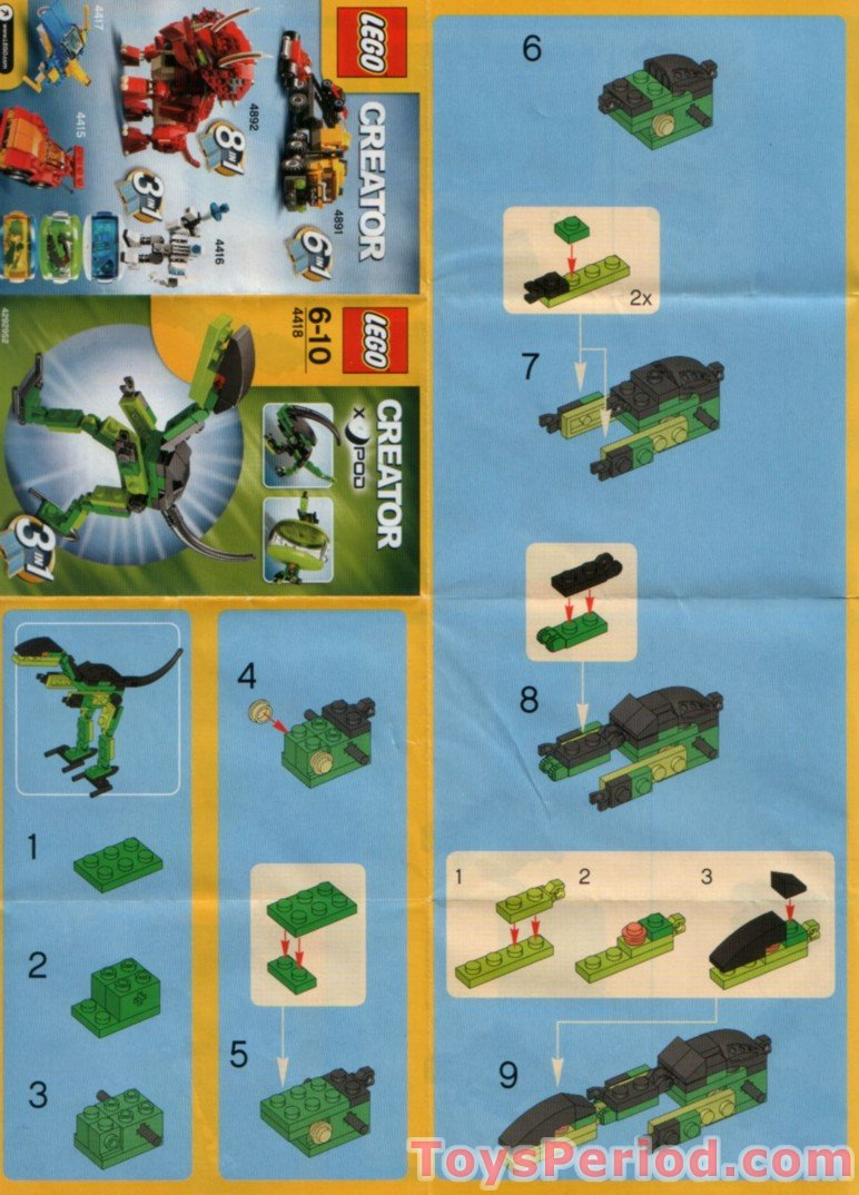 Lego 4418 dino pod set parts inventory and instructions lego reference guide - Dinosaure lego ...