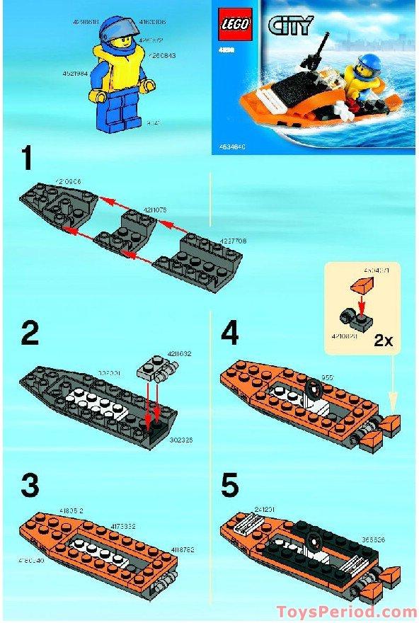 Lego 4898 Coast Guard Boat Set Parts Inventory And