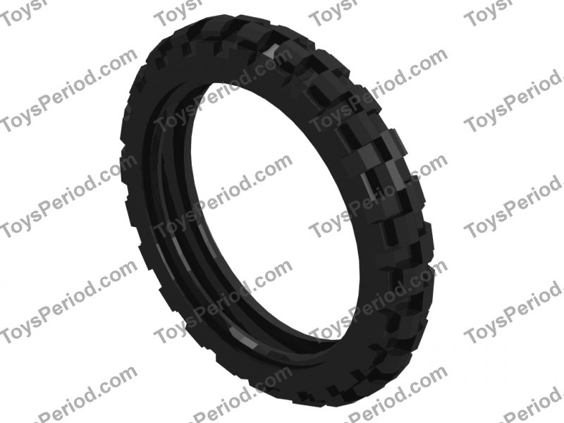 2 New Lego Technic Wheels with Axle Hole and Fixed Tread Tires From Set 80015