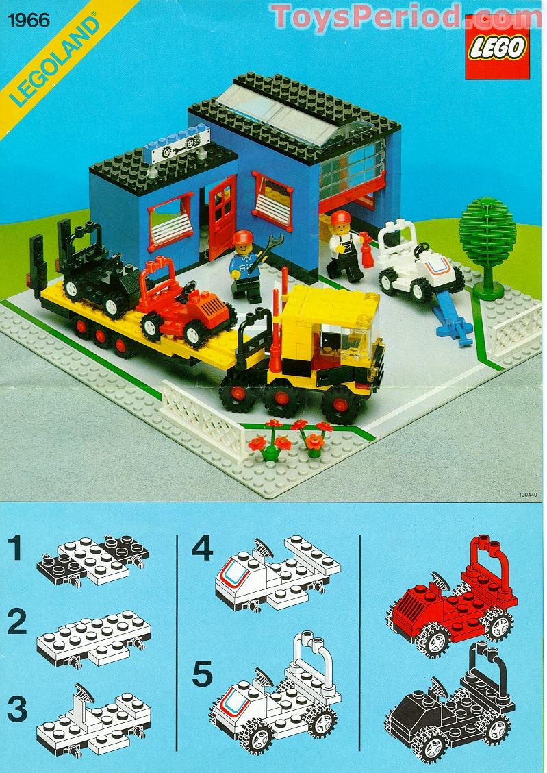 Lego 1966 car repair shop set parts inventory and for Modele maison lego classic
