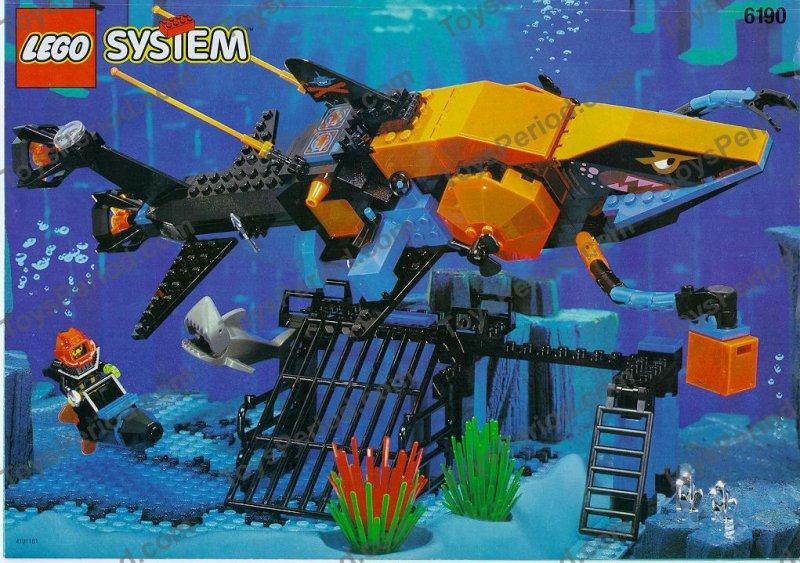 Lego 6190 Shark S Crystal Cave Aquashark Sea Wolf Set