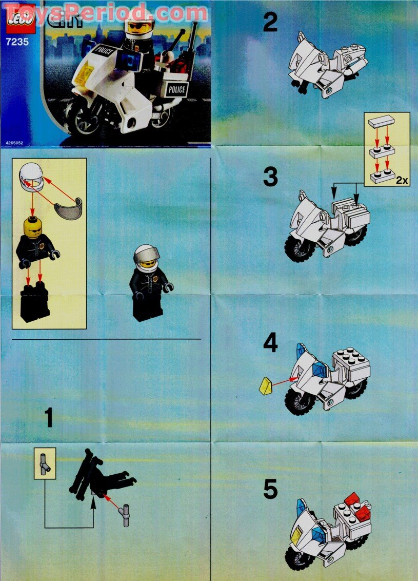 Lego 7235 2 Police Motorcycle Blue Sticker Version Set