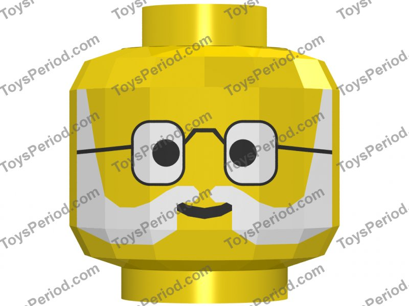 Lego New Minifigure Head Glasses with Gold Frame White and Gray Eyebrows